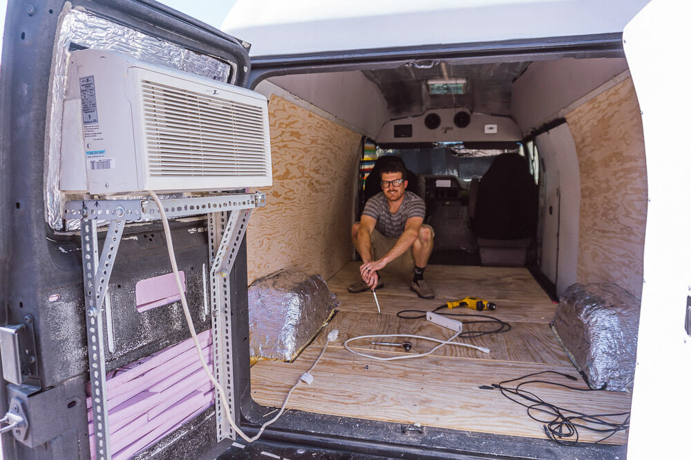 "Admiring the ""finished"" van walls."