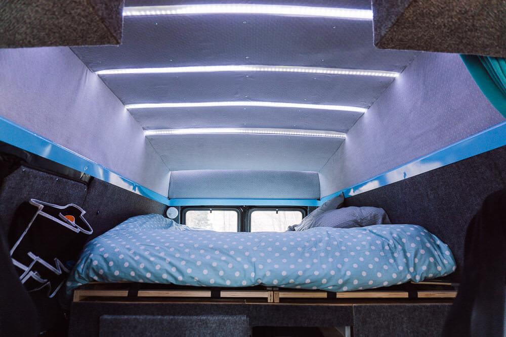 RV bed and interior lighting