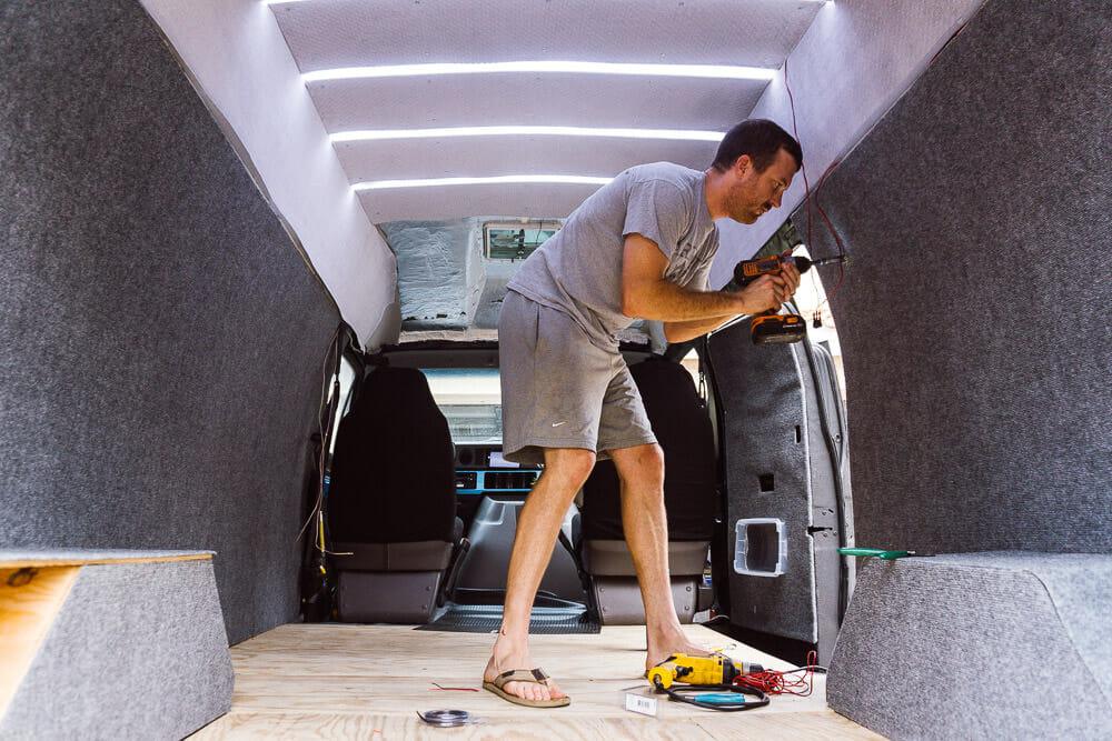 Installing The Van Overhead Lighting